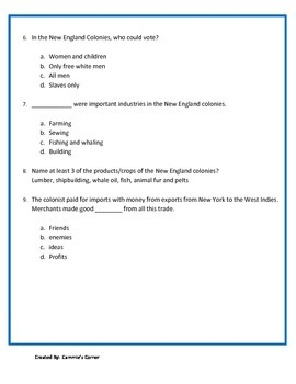 New England Colonies Quiz - 3rd Grade Social Studies
