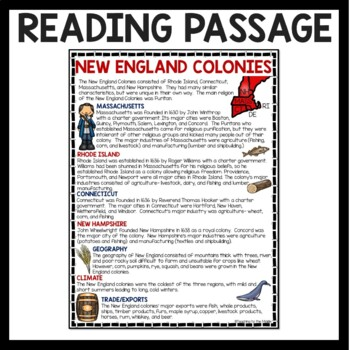 New England Colonies Reading Comprehension Worksheet