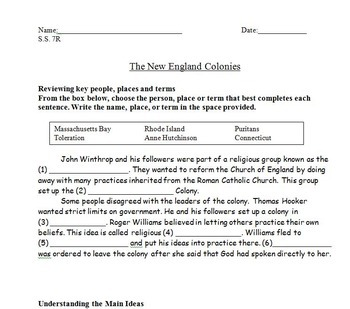 New England Colonies: Review Worksheets and Homeworks