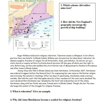 New England Colonies -- Review Worksheets and Homework