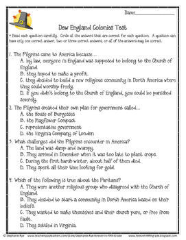 New England Colonies Study Guide and Test