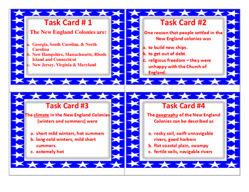 New England Colonies Task Cards