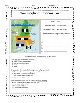 New England Colonies Test