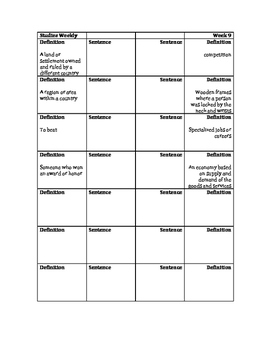 New England Colonies Vocabulary Foldable: Studies Weekly 9