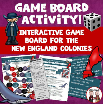 New England Colonies of America Board Game Activity