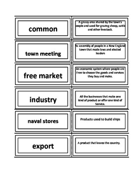 New England Colonies vocabulary Flash Cards