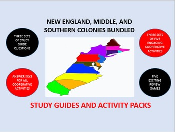 New England, Middle, Southern Colonies Bundle: Study Guide/Activity Packs