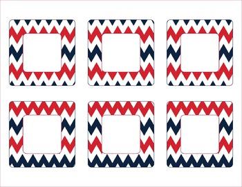 New England Patriots Inspired Red Blue & White Chevron Calendar Pieces-Editable