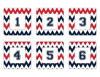 New England Patriots Inspired Red Blue & White Chevron Cal