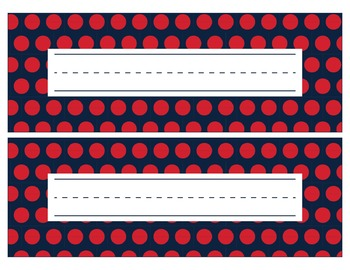 New England Patriots Inspired Red, White, & Blue Editable Name Plates/Word Wall