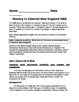 New England Slavery DBQ