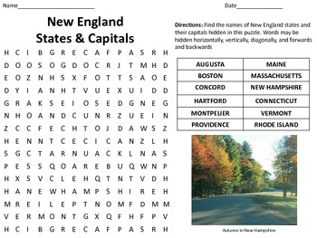 New England States And Capitals Word Search Usa Geography