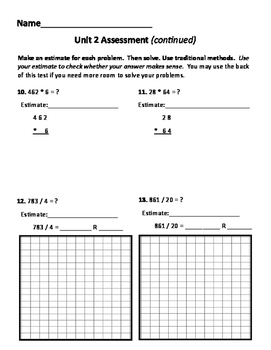 New!  Everyday Math 4 5th grade Unit 2 test