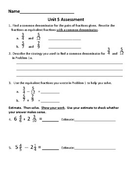 New!  Everyday Math 4 5th grade Unit 5 test