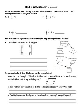 New! Everyday Math 4 5th grade Unit 7 test