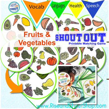 New FRUITS and VEGETABLES Matching Game SHOUT OUT! 31 - 3""