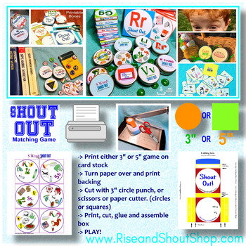 FRUITS & VEGETABLES SHOUT OUT! Spot the Match Game; vocabulary, 2 sizes/shapes