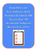 New Fourth Grade Indiana State Standards Check Off Sheets