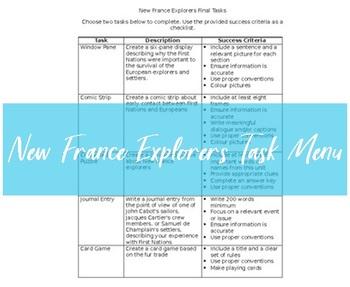 New France Explorers Task Menu