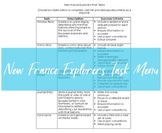 New France Explorers Task Menu
