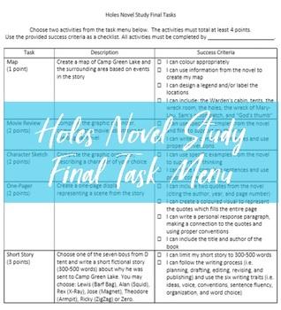 Holes Novel Study Task Menu