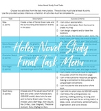 Holes Novel Study Task Menu