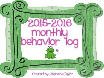 New Froggy Behavior Calendar Logs 2015-2016