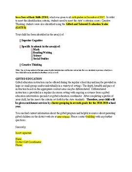 New Gifted Identification Letter