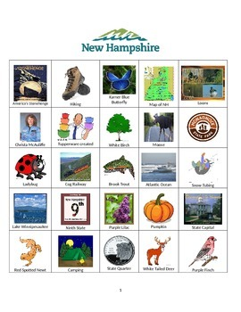 New Hampshire Bingo:  State Symbols and Popular Sites