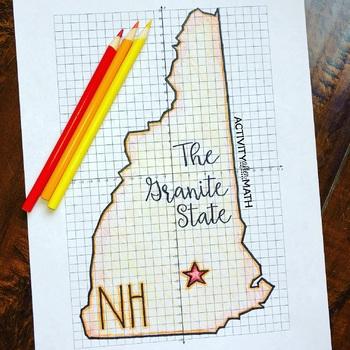 New Hampshire Coordinate Graphing Picture 1st Quadrant & ALL 4 Quadrants