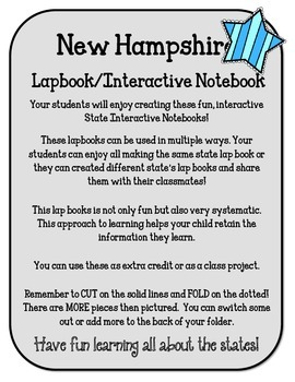 New Hampshire State Lapbook/Interactive Notebook. US State History. Geography