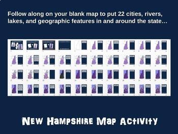 New Hampshire Map Activity- fun, engaging, follow-along 20-slide PPT
