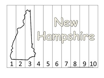 New Hampshire Number Sequence Puzzle.  Learn the States preschool printable game