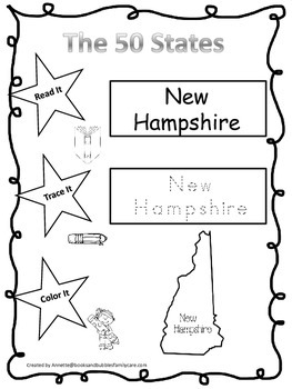 New Hampshire Read it, Trace it, Color it Learn the States preschool worksheeet.