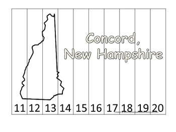 New Hampshire State Capitol Number Sequence Puzzle 11-20.  Geography and Numbers