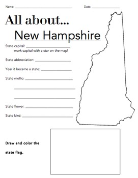 New Hampshire State Facts Worksheet: Elementary Version