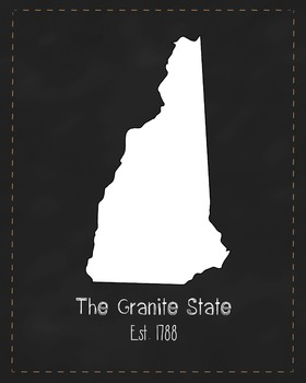 New Hampshire State Map Class Decor, Government, Geography, Black and White