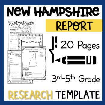 New Hampshire State Research Report Project Template with timeline Craftivity NH