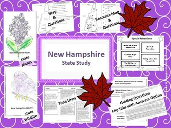 New Hampshire State Study, Interactive Notebook, and Bulletin Board Display