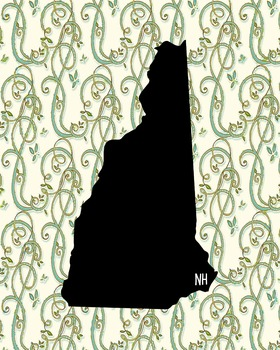 New Hampshire Vintage State Map or Poster Class Decor Decoration