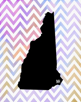 New Hampshire Chevron State Map Class Decor, Government, Geography