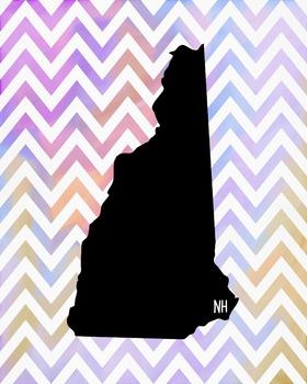New Hampshire Chevron State Map Class Decor, Government, G