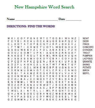 New Hampshire Word Search!