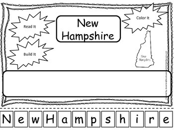 New Hamshire Read it, Build it, Color it Learn the States preschool worksheet.
