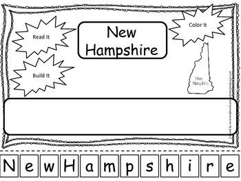 New Hamshire Read it, Build it, Color it Learn the States preschool worksheet.