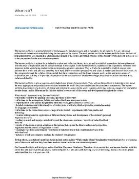New IB English Literature Curriculum: Learner Portfolio Introduction PDF