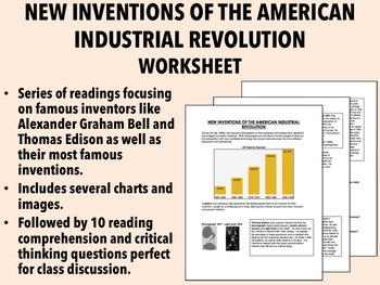 New Inventions of the American Industrial Revolution worksheet - USH