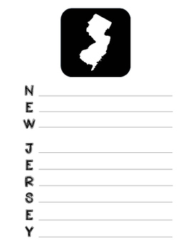 New Jersey State Acrostic Poem Template, Project, Activity, Worksheet