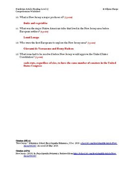 New Jersey Article (Reading Level 1) Comprehension Worksheet