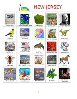 New Jersey Bingo:  State Symbols and Popular Sites